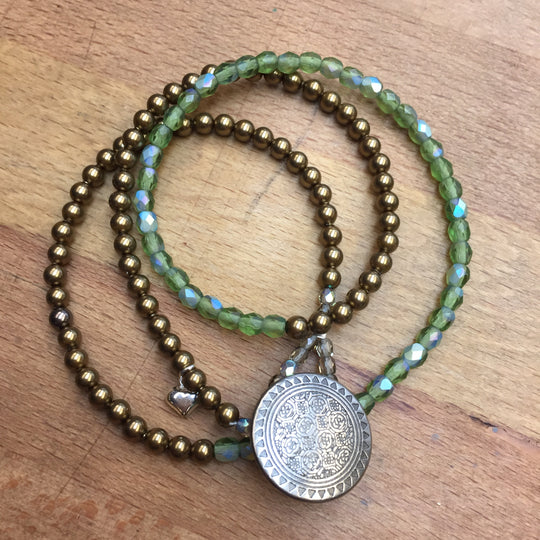 Angel Bracelet - brown and green