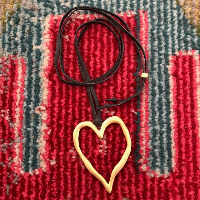 Leather - Matted Gold Heart