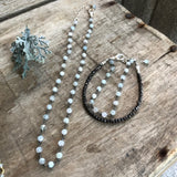 March Choker and Bracelet - Aquamarine Beaded Chain