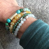 Lucky Bracelet Stack - Aqua, Jade, Turquoise and more - Silver