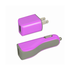REIKO IPHONE SE/ 5S/ 5 1 AMP 3-IN-1 CAR CHARGER WALL ADAPTER WITH CABLE IN PURPLE