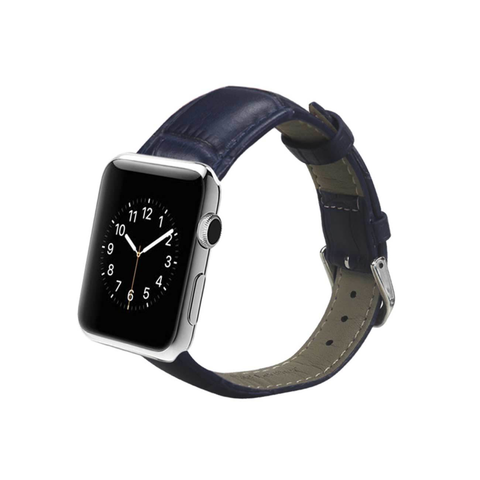 REIKO WATCH 42MM GENUINE LEATHER IWATCH BAND STRAP WITHOUT BAND ADAPTORS 38MM IN NAVY