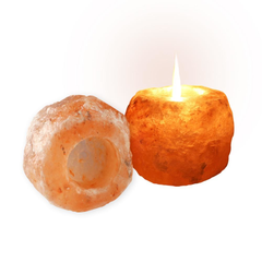 Himalayan Rock Salt Candle Holder - Pink Salt 2 Pack