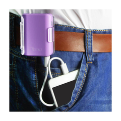 REIKO 4000MAH UNIVERSAL POWER BANK WITH CABLE IN PURPLE