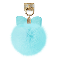 REIKO PHONE HOLDER/ FINGER LOOP GRIP WITH RHINESTONE SOFT PUFFY FUR BALL IN BLUE