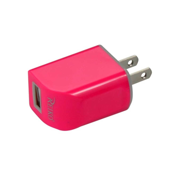 REIKO MICRO USB 1 AMP PORTABLE MICRO TRAVEL ADAPTER CHARGER WITH CABLE IN HOT PINK