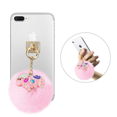 REIKO PHONE HOLDER/ FINGER LOOP GRIP WITH RHINESTONE SHEEP PENDANT SOFT PUFFY FUR BALL IN PINK