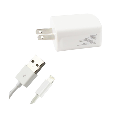 REIKO IPHONE SE/ 5S/ 5 1 AMP PORTABLE WALL USB TRAVEL ADAPTER CHARGER WITH CABLE IN WHITE