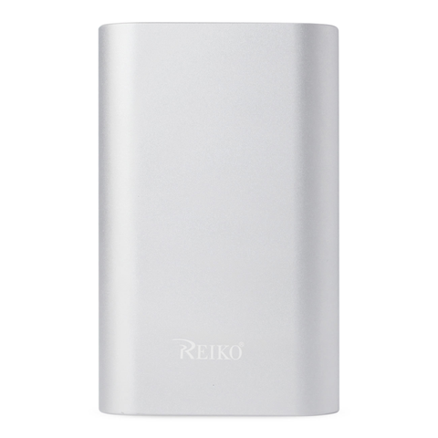 REIKO 2A5V 6800MAH UNIVERSAL POWER BANK WITH MICRO CABLE AND DURAL OUTPUT PORT IN SILVER