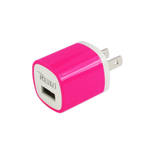 REIKO 1 AMP WALL USB TRAVEL ADAPTER CHARGER IN HOT PINK