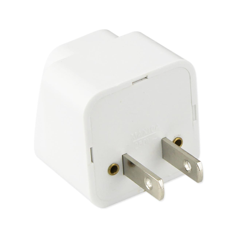 REIKO UNIVERSAL EUROPE EU / UK / AU TO US TRAVEL PLUG POWER ADAPTER CONVERTER IN WHITE