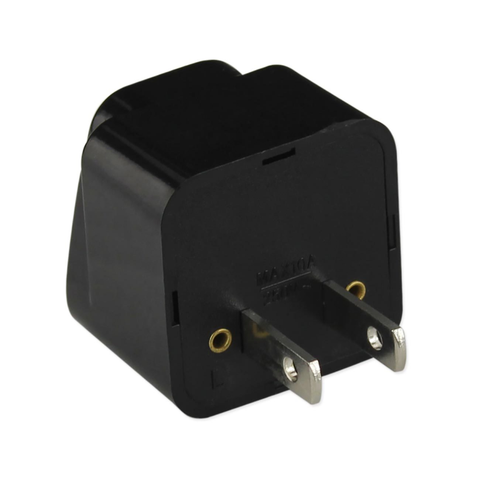 REIKO UNIVERSAL EUROPE EU / UK / AU TO US TRAVEL PLUG POWER ADAPTER CONVERTER IN BLACK