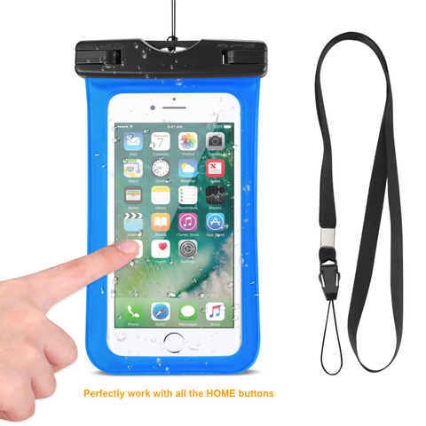 REIKO WATERPROOF CASE FOR IPHONE 6 PLUS/ 6S PLUS/ 7 PLUS OR 5.5 INCH DEVICES WITH WRIST STRAP IN BLUE