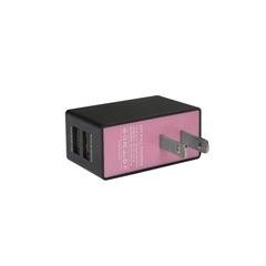 REIKO 2 AMP DUAL PORT WALL USB TRAVEL ADAPTER CHARGER IN PINK BLACK