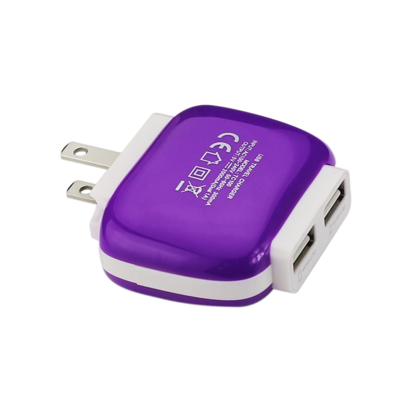 REIKO 2 AMP DUAL PORT WALL FOLDABLE USB TRAVEL ADAPTER CHARGER IN PURPLE