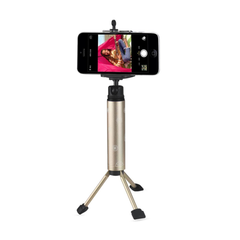 REIKO SELFIE MONOPOD STICK UNIVERSAL TRIPOD MINI PHONE HOLDER IN GOLD