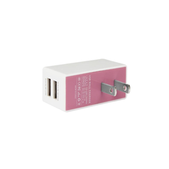 REIKO 2 AMP DUAL PORT WALL USB TRAVEL ADAPTER CHARGER IN PINK WHITE