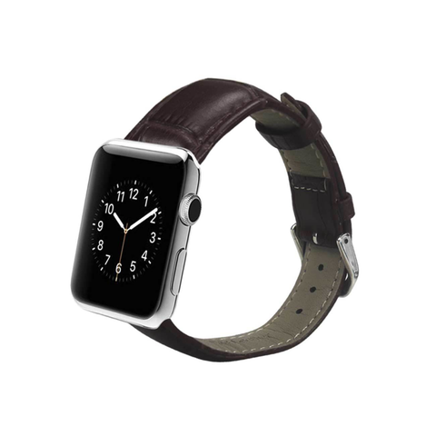REIKO WATCH 38MM GENUINE LEATHER IWATCH BAND STRAP WITHOUT BAND ADAPTORS 38MM IN BROWN