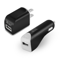 Reiko Micro 1 AMP 3-In-1 Car Charger Wall Adapter With USB Cable In Black