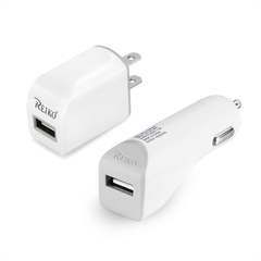 REIKO MICRO 1 AMP 3-IN-1 CAR CHARGER WALL ADAPTER WITH USB CABLE IN WHITE