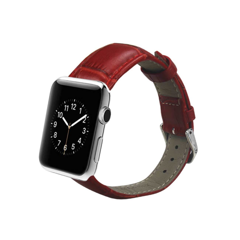 REIKO WATCH 42MM GENUINE LEATHER IWATCH BAND STRAP WITHOUT BAND ADAPTORS 38MM IN RED
