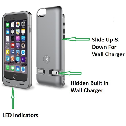 Squirl Protective Case Battery Bank with Built-in Wall Charger for iPhone 6 6s. Space Gray