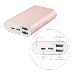 REIKO 2A5V 6800MAH UNIVERSAL POWER BANK WITH MICRO CABLE AND DURAL OUTPUT PORT IN ROSE GOLD
