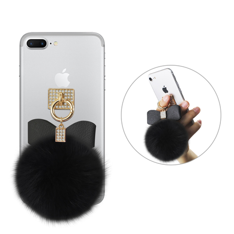 REIKO PHONE HOLDER/ FINGER LOOP GRIP WITH RHINESTONE SOFT PUFFY FUR BALL IN BLACK
