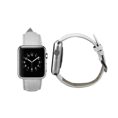 REIKO WATCH 42MM GENUINE LEATHER IWATCH BAND STRAP WITHOUT BAND ADAPTORS 38MM IN WHITE