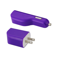 REIKO MICRO 1 AMP 3-IN-1 CAR CHARGER WALL ADAPTER WITH USB CABLE IN PURPLE
