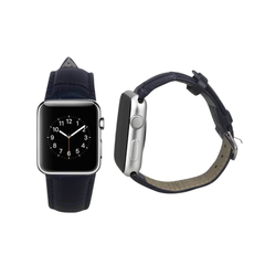 REIKO WATCH 38MM GENUINE LEATHER IWATCH BAND STRAP WITHOUT BAND ADAPTORS 38MM IN NAVY