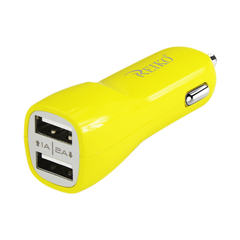 REIKO MICRO USB 2 AMP DUAL USB PORTS CAR CHARGER IN YELLOW