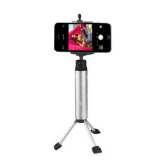 REIKO SELFIE MONOPOD STICK UNIVERSAL TRIPOD MINI PHONE HOLDER IN SILVER