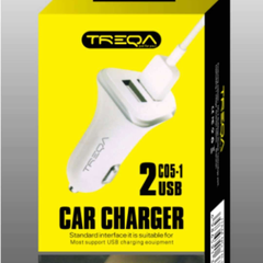 CS-201 Double USB Car Charger With Charging Cord