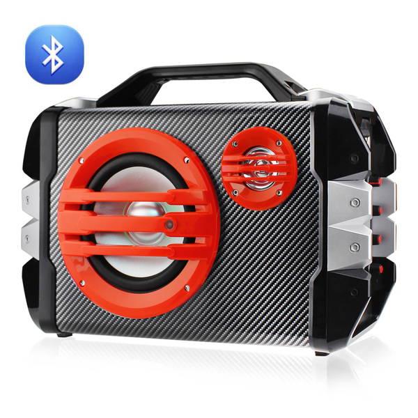 Universal Boombox Bluetooth Mono Speaker In Black and Red
