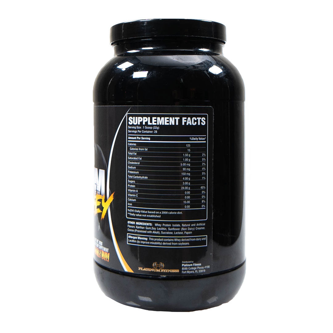 Platinum Fitness Chocolate 100% Whey Protein Isolate (Supplement Facts)