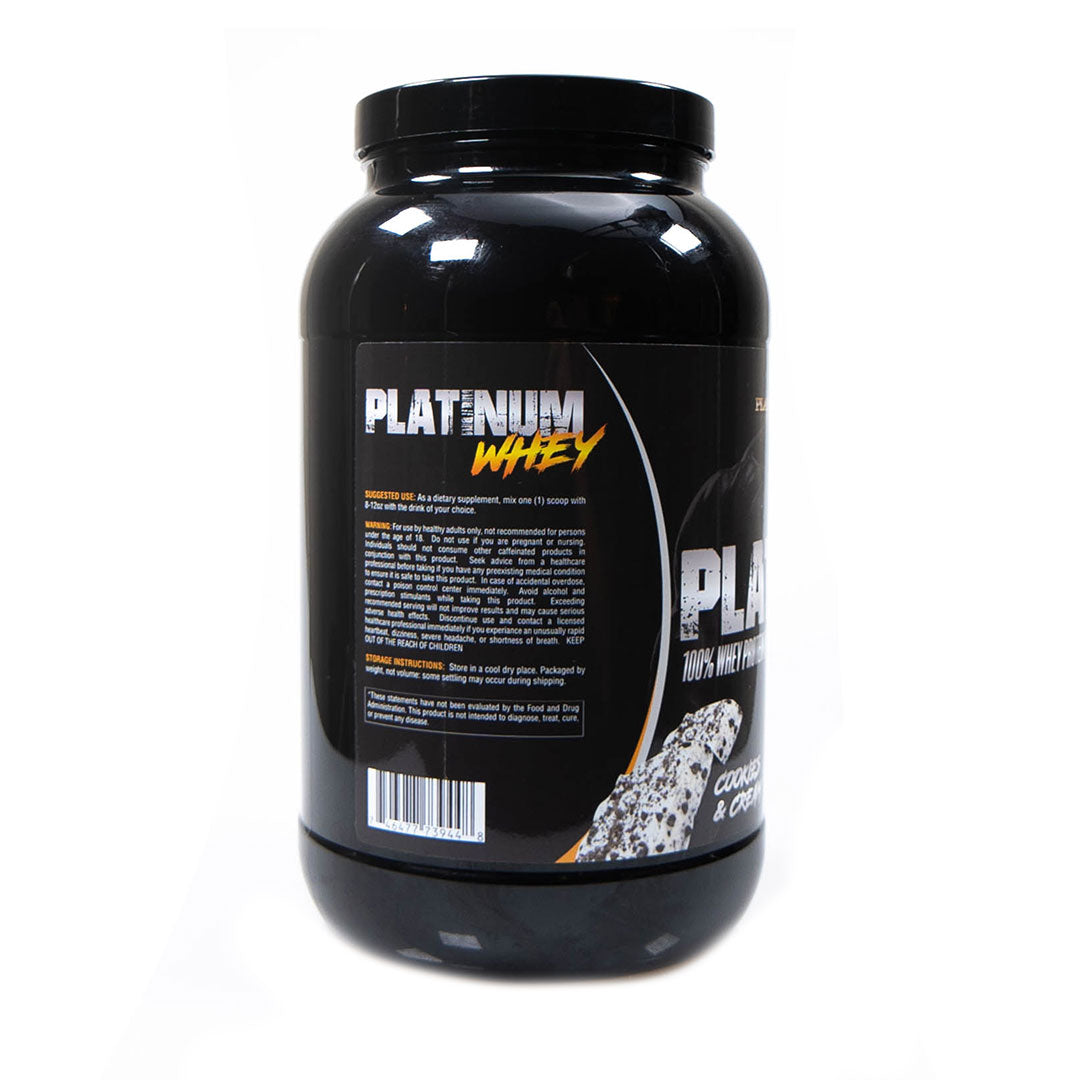 Platinum Fitness Cookies and Cream 100% Whey Protein Isolate (Back)