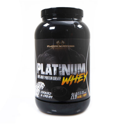 Platinum Fitness Cookies and Cream 100% Whey Protein Isolate (Front)