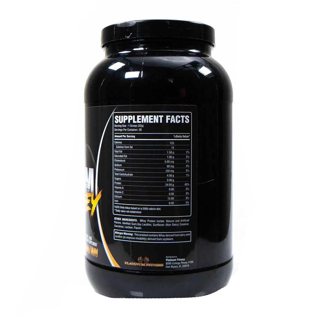 Platinum Fitness Peanut Butter Cookie 100% Whey Protein Isolate (Supplement Facts)