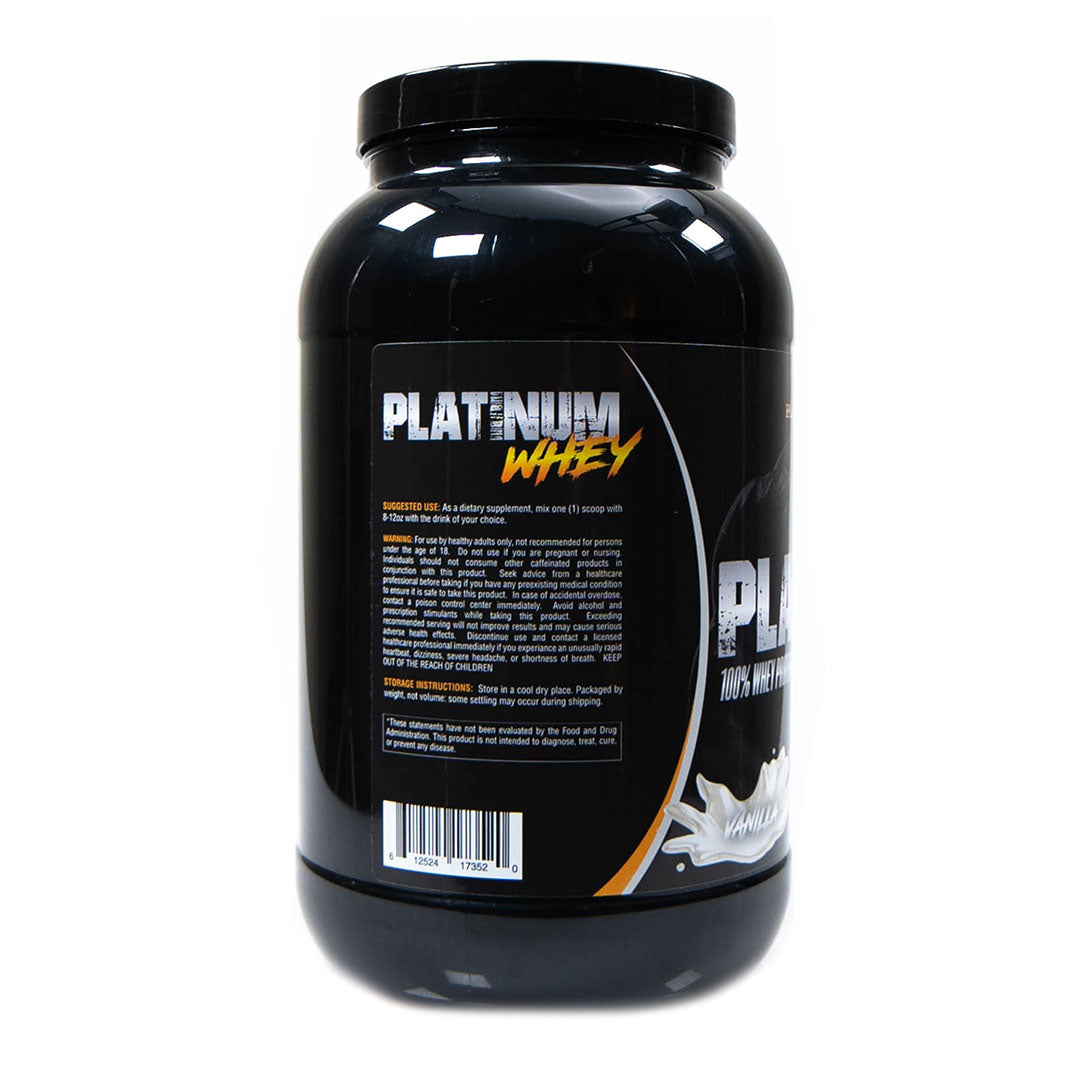 Platinum Fitness Vanilla 100% Whey Protein Isolate (Back)