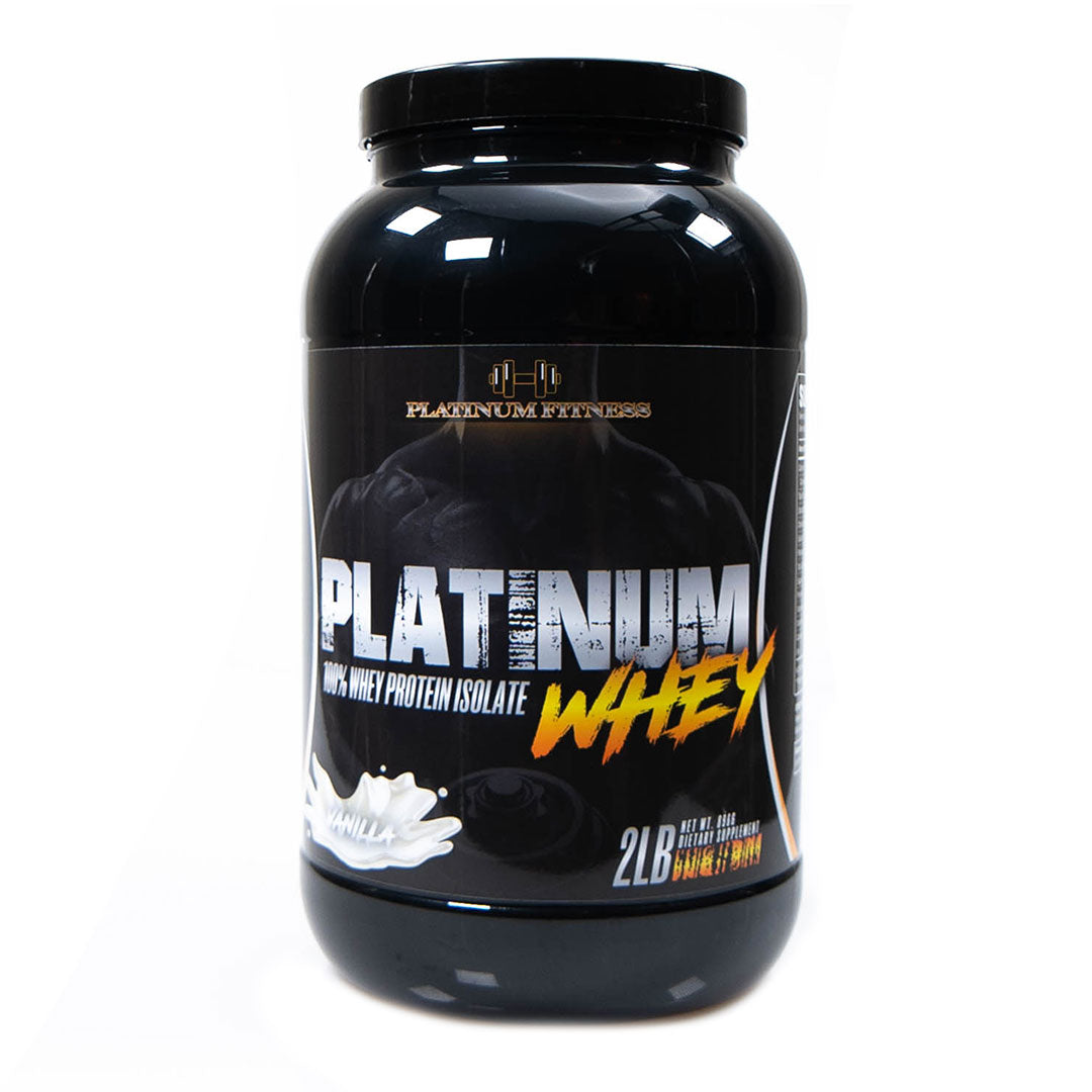 Platinum Fitness Vanilla 100% Whey Protein Isolate (Front)
