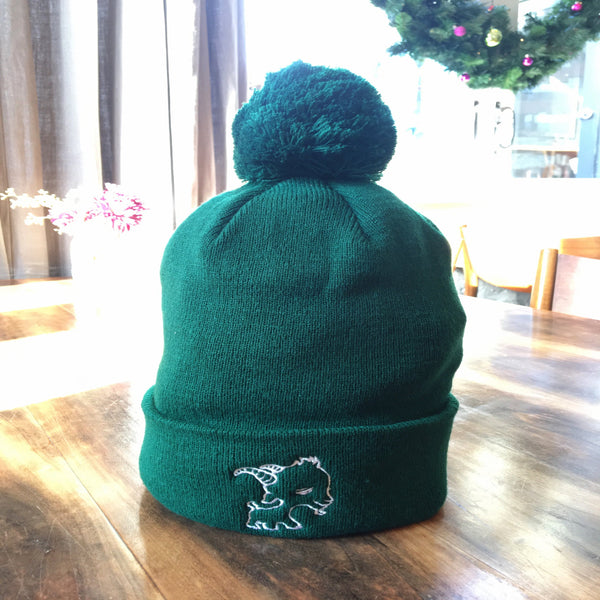 Hunter Green Beanie Hat w/ Pom-Pom
