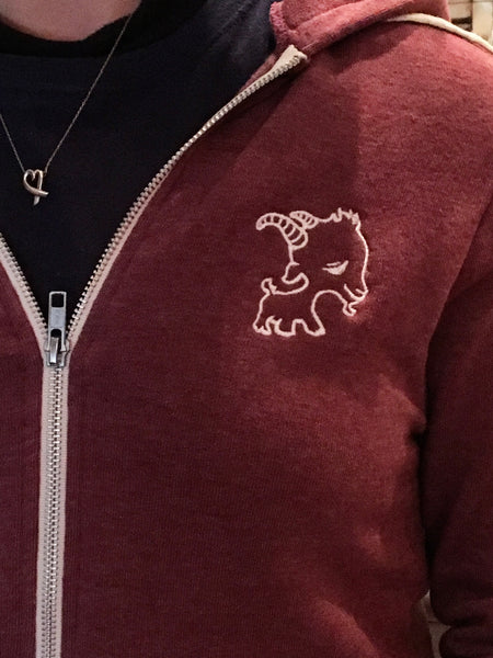 Cranberry Zip Up Goat Hoodie