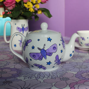 Moths & Stars Teapot - 4-6 cup - Hand Painted - Fine China