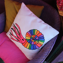 Load image into Gallery viewer, Ammonite cushion fun rainbow pillow by Laura Lee Designs