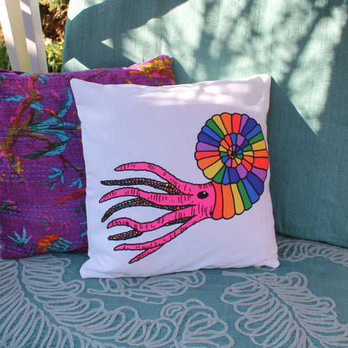 Rainbow ammonite cushion by Laura Lee designs Cornwall