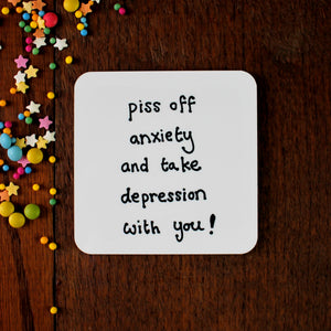 Anti depression and anxiety mental health gift plain coaster with motivational wording a funny gift by Laura Lee Designs Cornwall