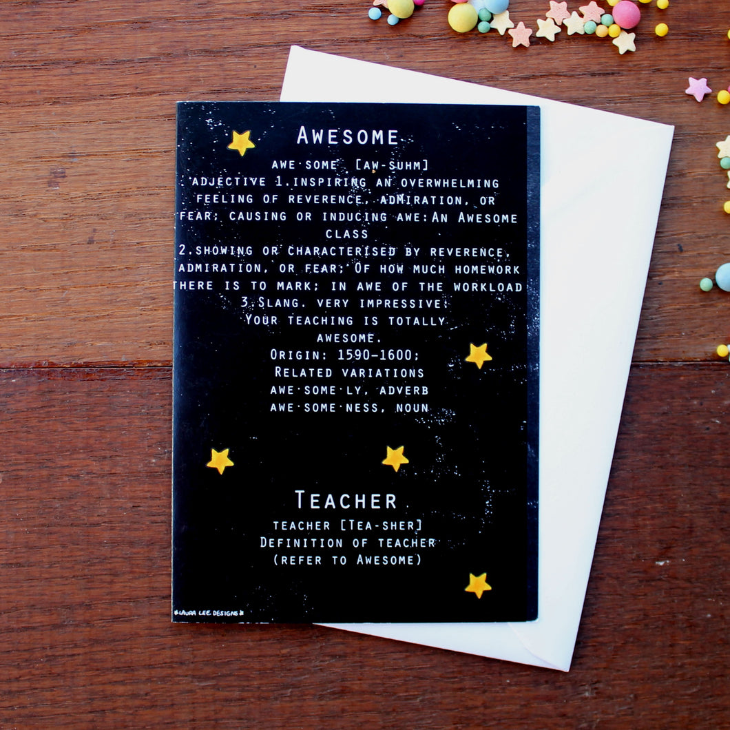 Awesome teacher card by Laura Lee Designs