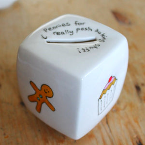 Hand painted baking money box by Laura lee designs cupcake and gingerbread man