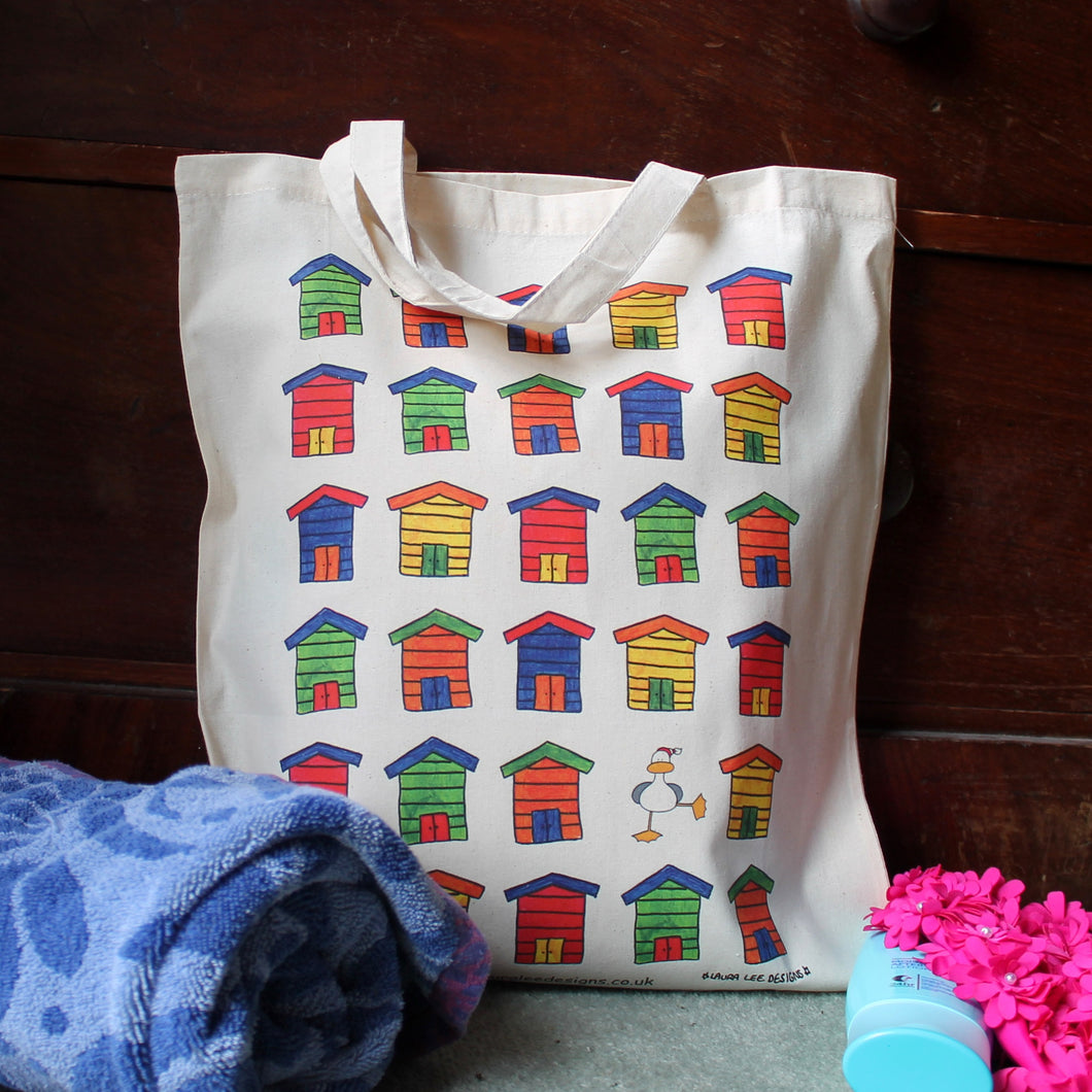 Dorset beach huts tote bag by Laura lee designs Cornwall funny seagull